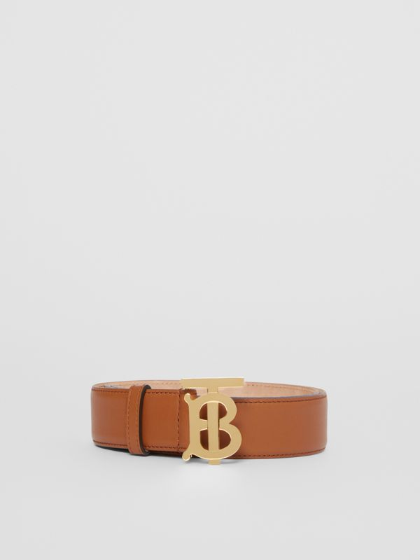Monogram Motif Leather Belt in Tan - Women | Burberry Singapore - cell image 3