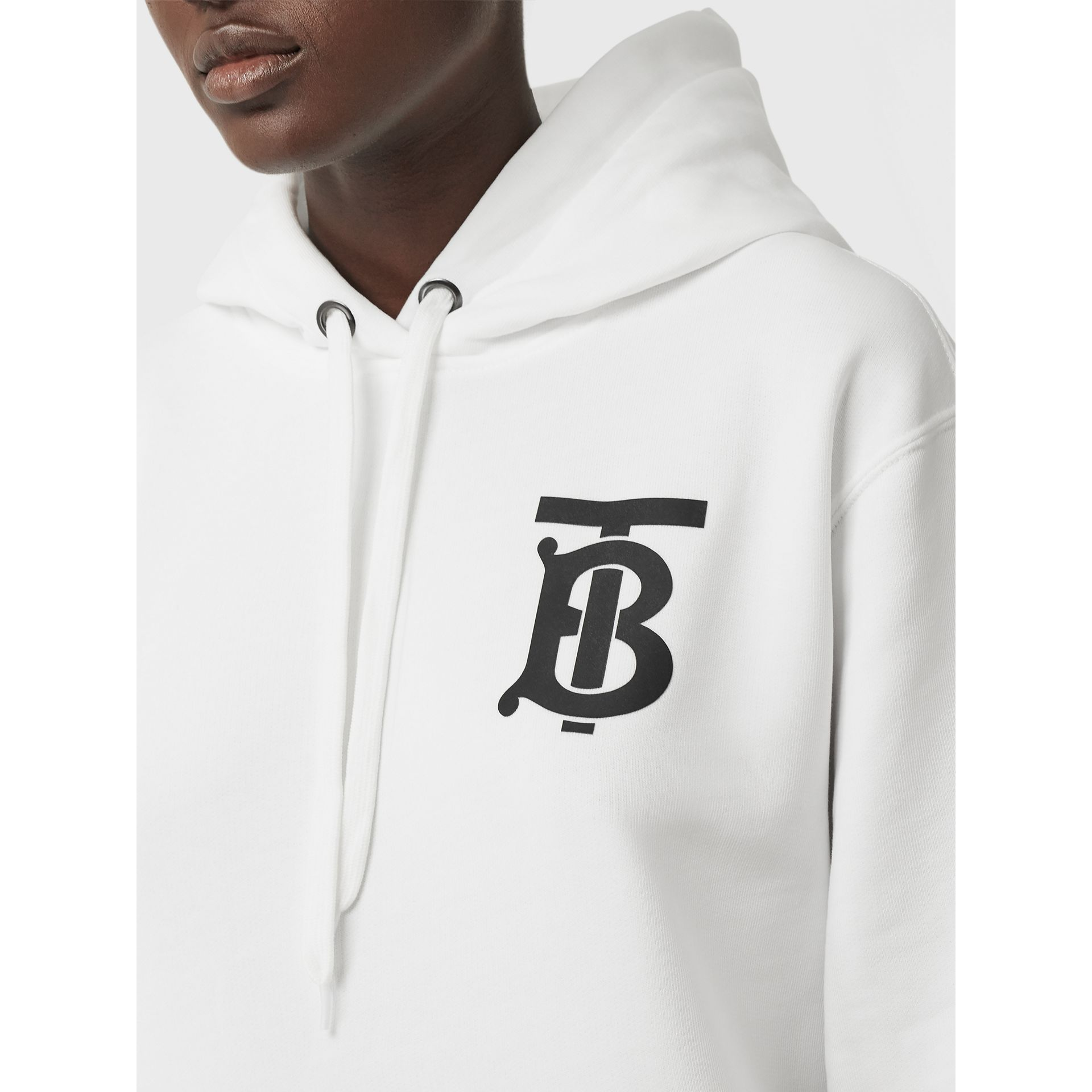 Monogram Motif Cotton Hoodie in White - Women | Burberry United Kingdom - gallery image 1