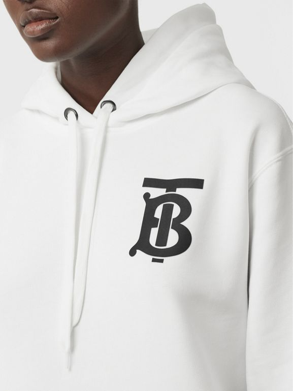 Monogram Motif Cotton Hoodie in White - Women | Burberry - cell image 1