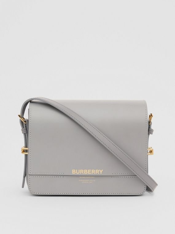 Small Two-tone Leather Grace Bag in Heather Grey/cloud Grey