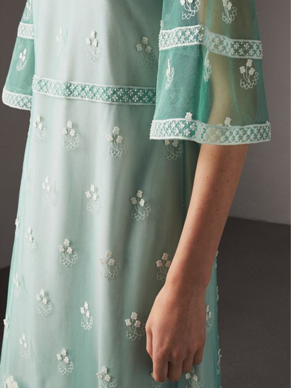 Flare-sleeve Embroidered Tulle Dress in Aqua Green/white - Women | Burberry United Kingdom - cell image 1