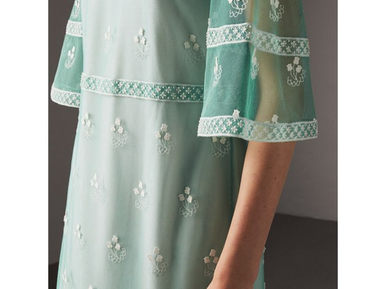 Flare-sleeve Embroidered Tulle Dress in Aqua Green/white - Women | Burberry - cell image 1