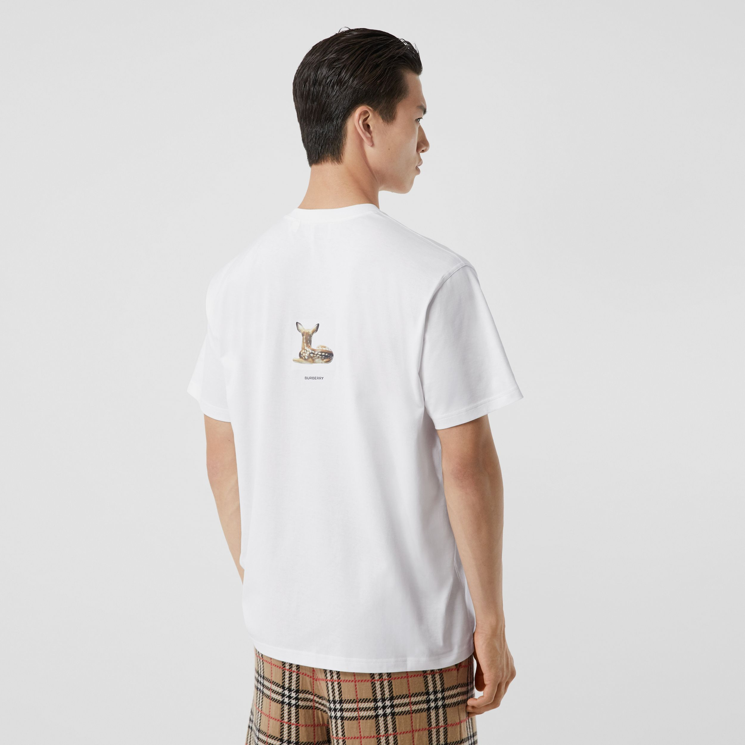 Deer Print Cotton Oversized T-shirt in White - Men | Burberry - 3