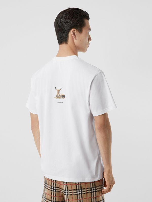 Deer Print Cotton Oversized T-shirt in White - Men | Burberry - cell image 2