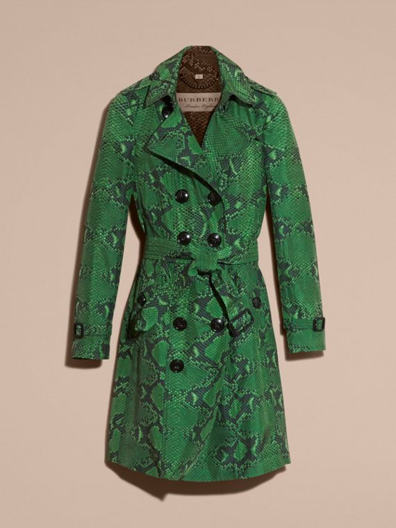 Bright green Python Print Silk Trench Coat Bright Green - cell image 3