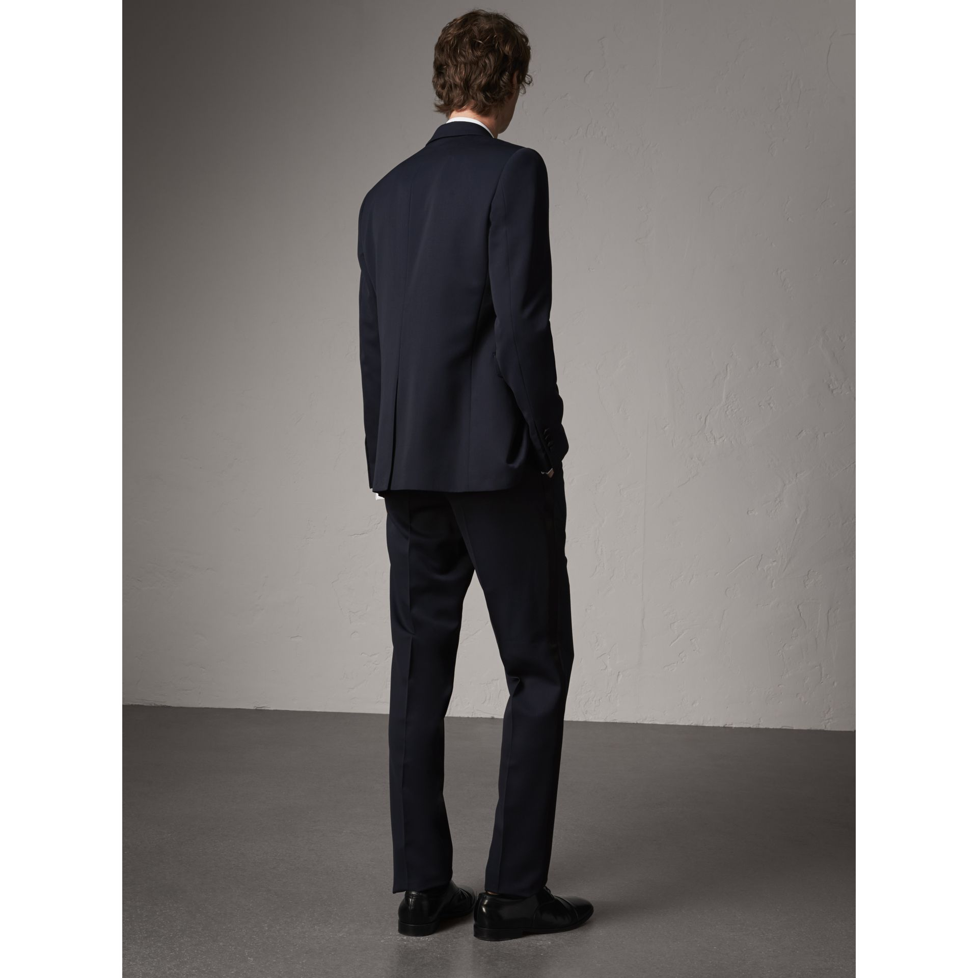 Modern Fit Virgin Wool Half-canvas Tuxedo in Navy - Men | Burberry Canada - gallery image 3