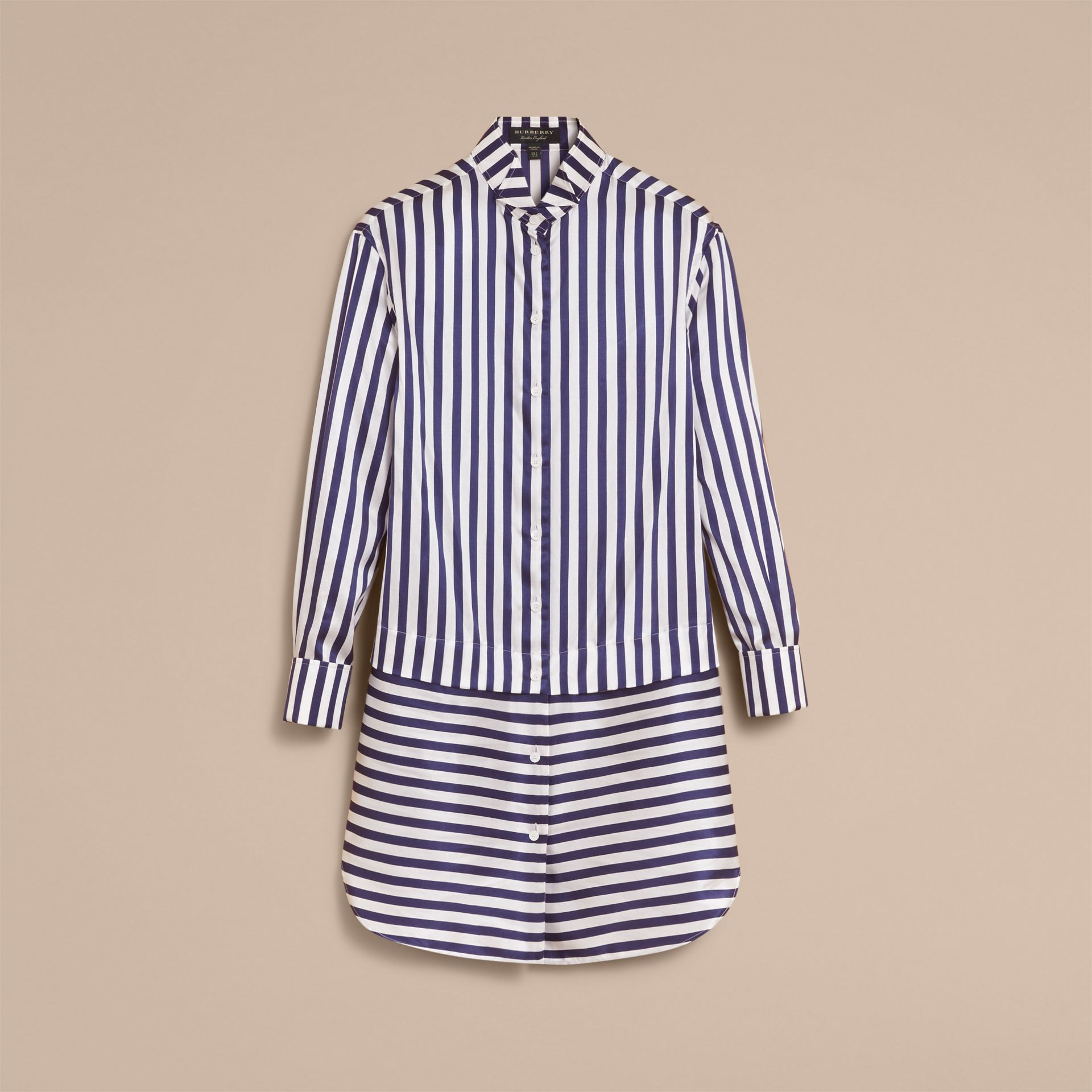 Striped Silk Cotton Shirt Dress - Women | Burberry - gallery image 4