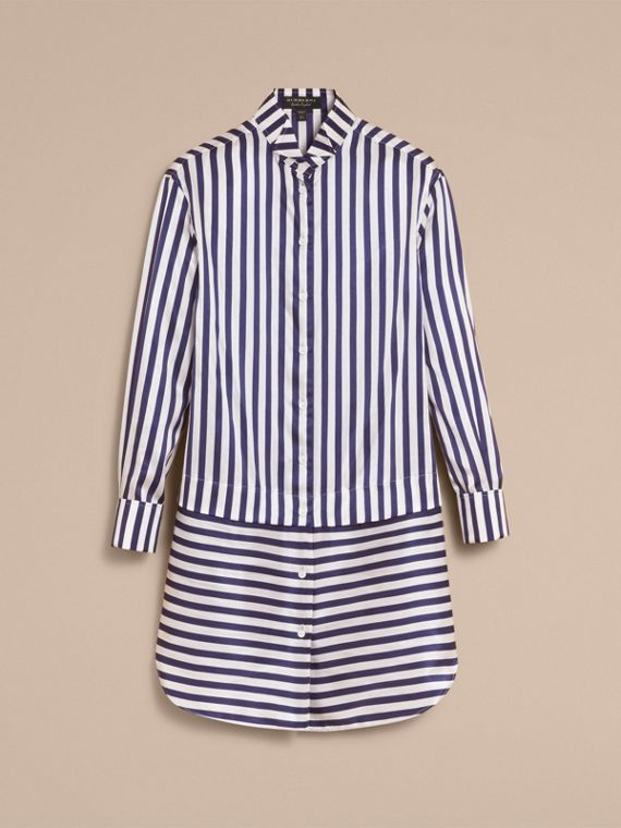 Striped Silk Cotton Shirt Dress - Women | Burberry - cell image 3