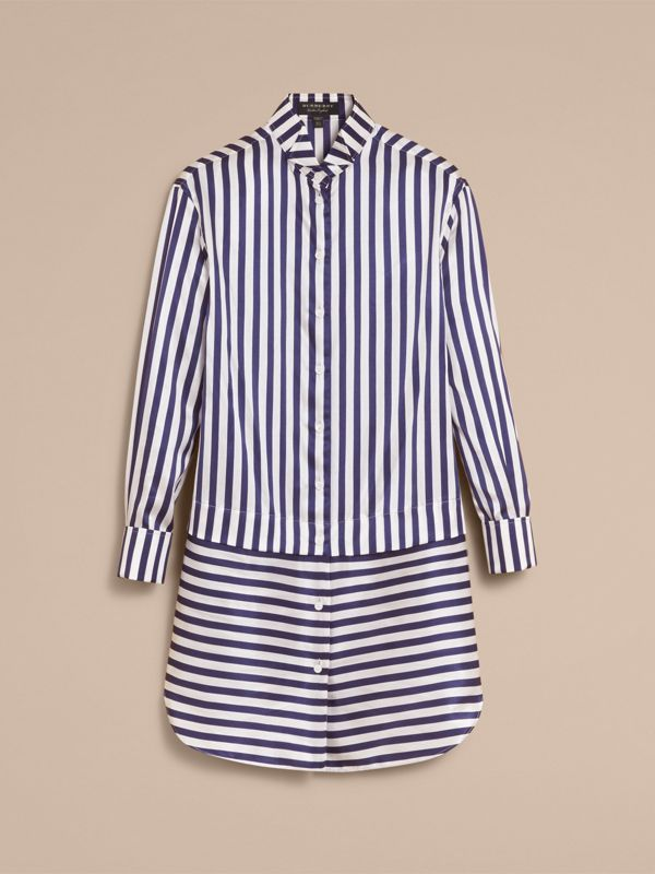 Striped Silk Cotton Shirt Dress in Indigo | Burberry United Kingdom - cell image 3