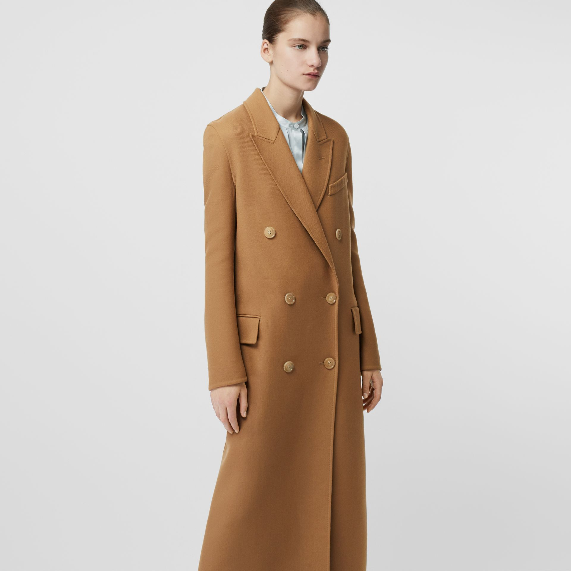 Double-breasted Wool Tailored Coat in Camel - Women | Burberry Singapore - gallery image 4