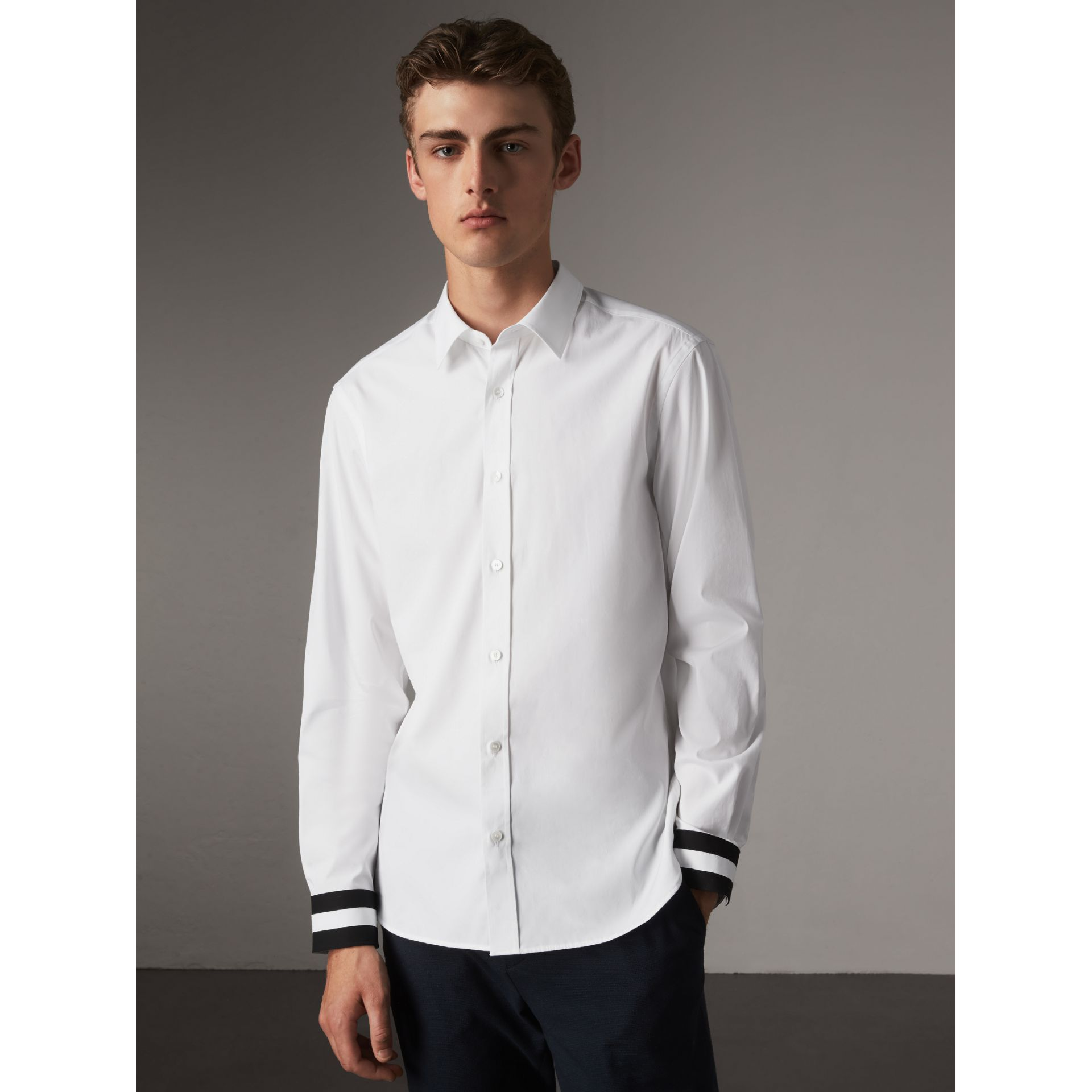 Striped Cuff Stretch Cotton Shirt in White - Men | Burberry - gallery image 6