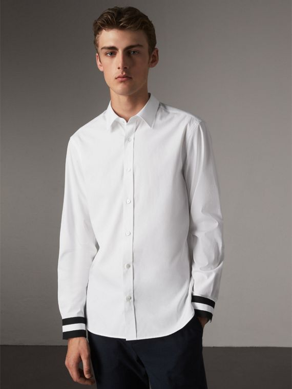 Striped Cuff Stretch Cotton Shirt in White