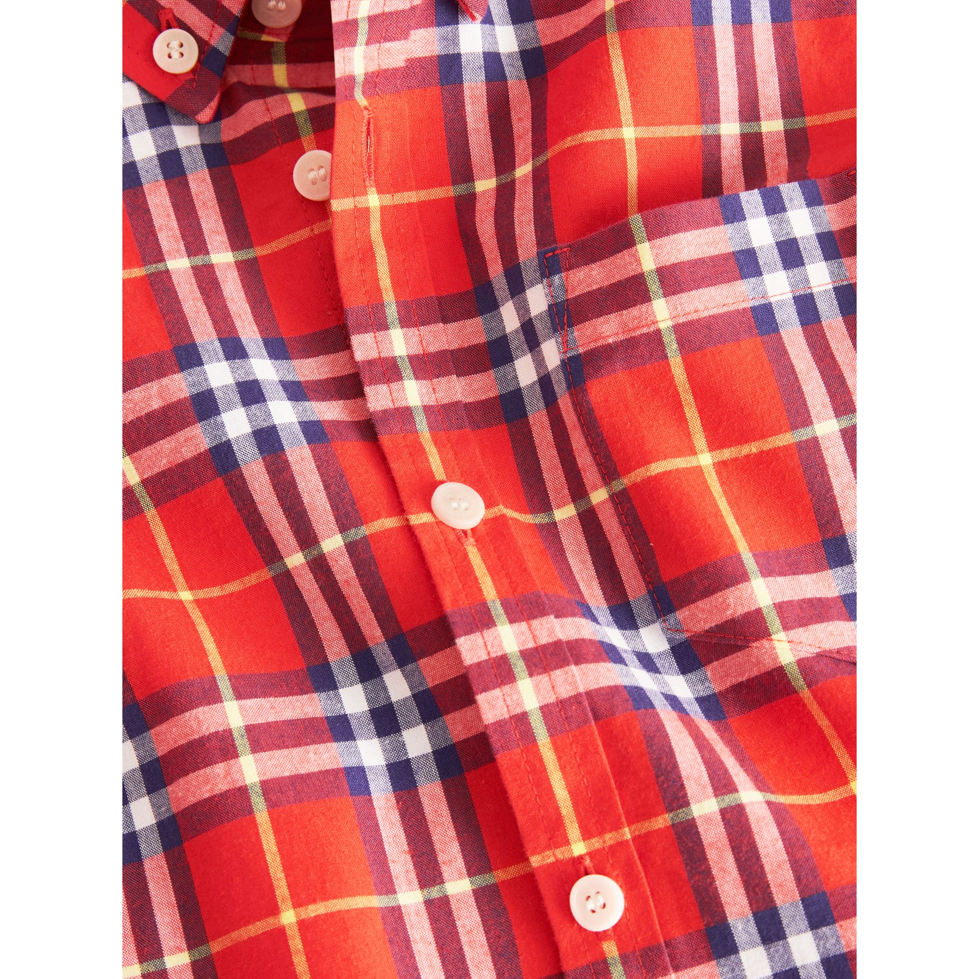 Button-down Collar Check Flannel Shirt in Orange Red | Burberry Canada - gallery image 1