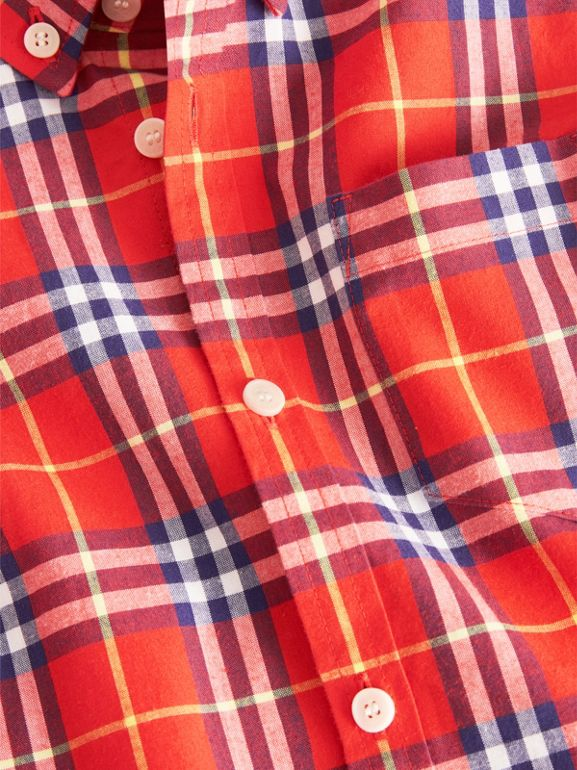 Button-down Collar Check Flannel Shirt in Orange Red | Burberry United Kingdom - cell image 1