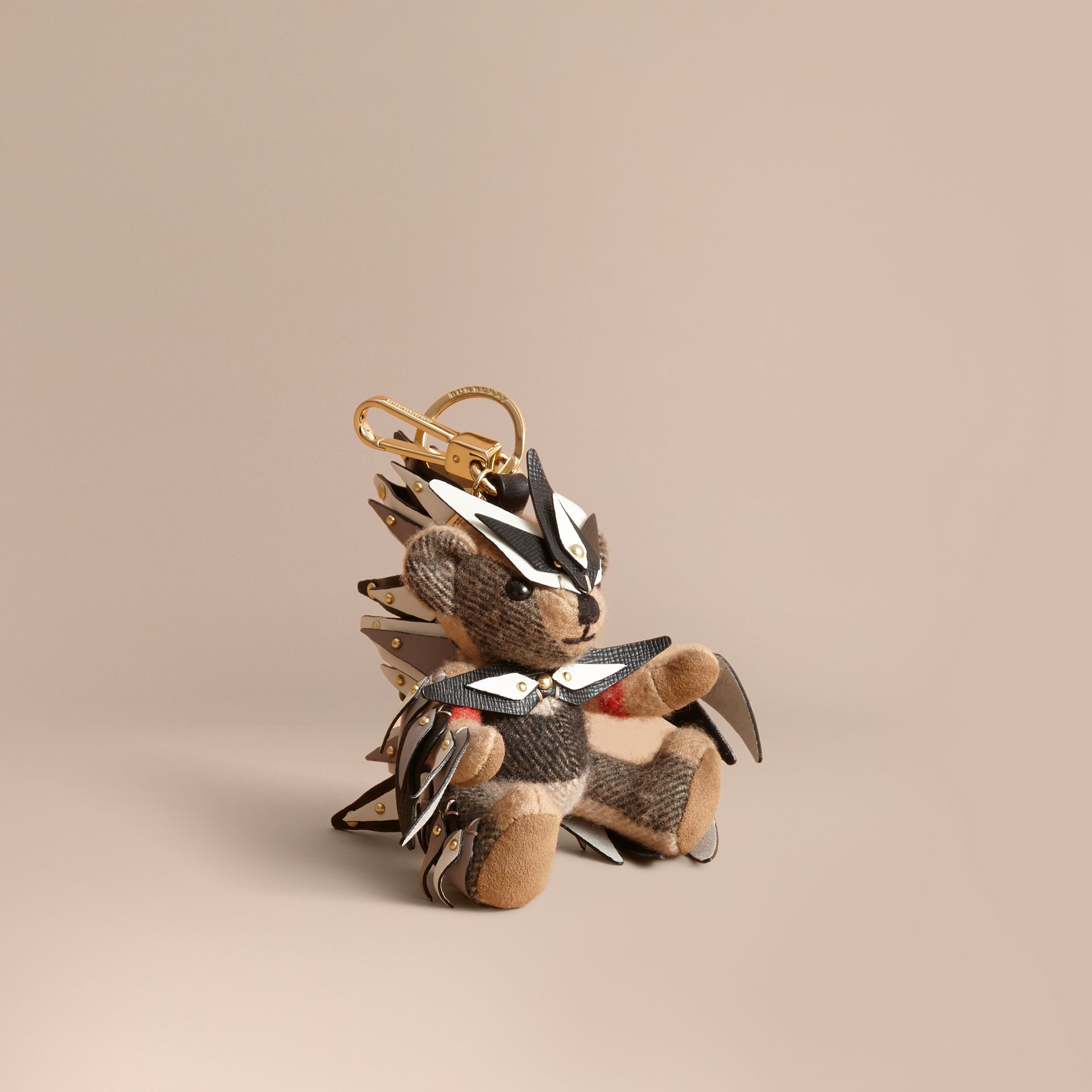Thomas Bear Charm in Check Cashmere with Beasts Detail in Camel - Women | Burberry - gallery image 1