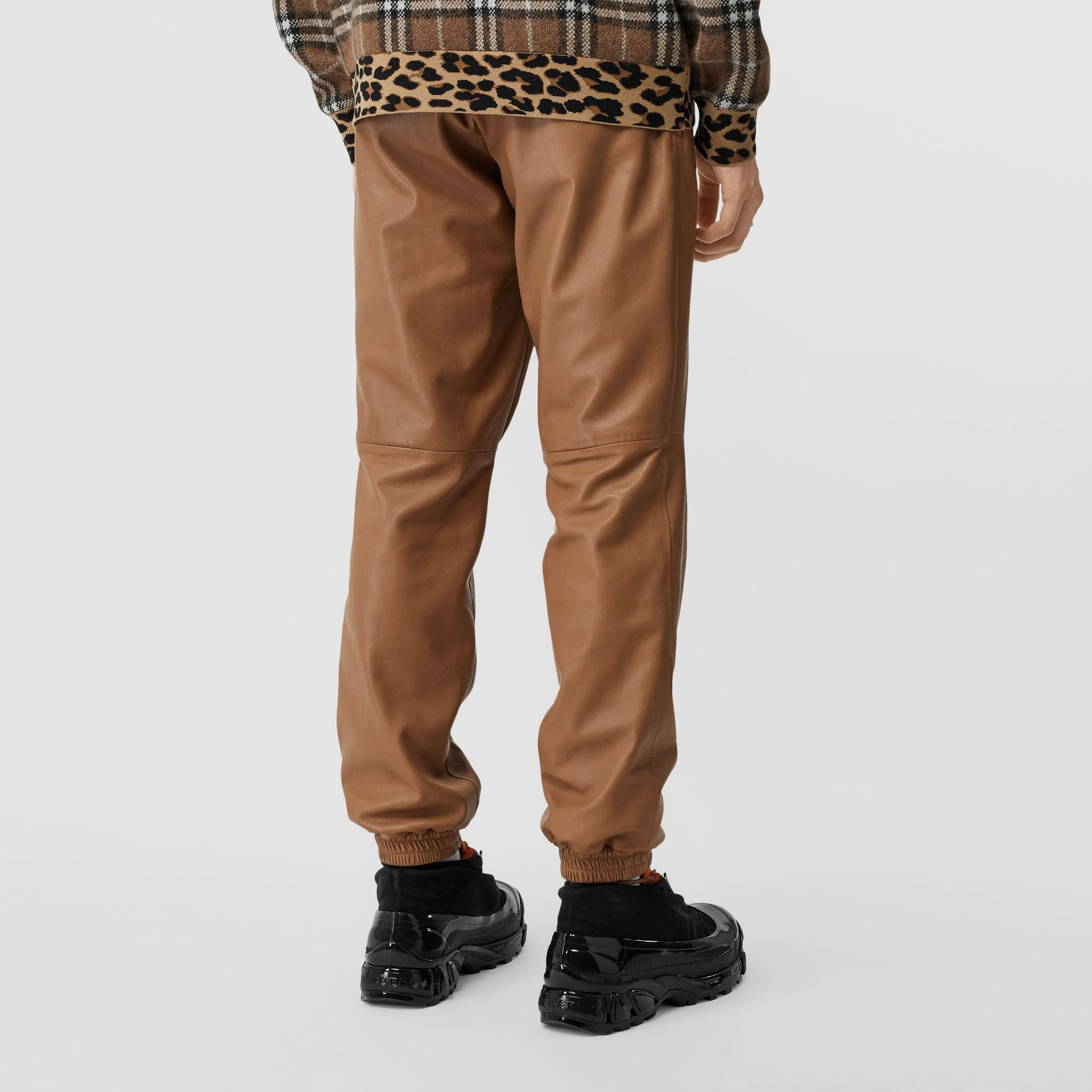 Plonge Lambskin Trackpants in Warm Walnut - Men | Burberry - gallery image 4