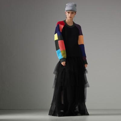 Tiered Open-Net Tulle Skirt in Black