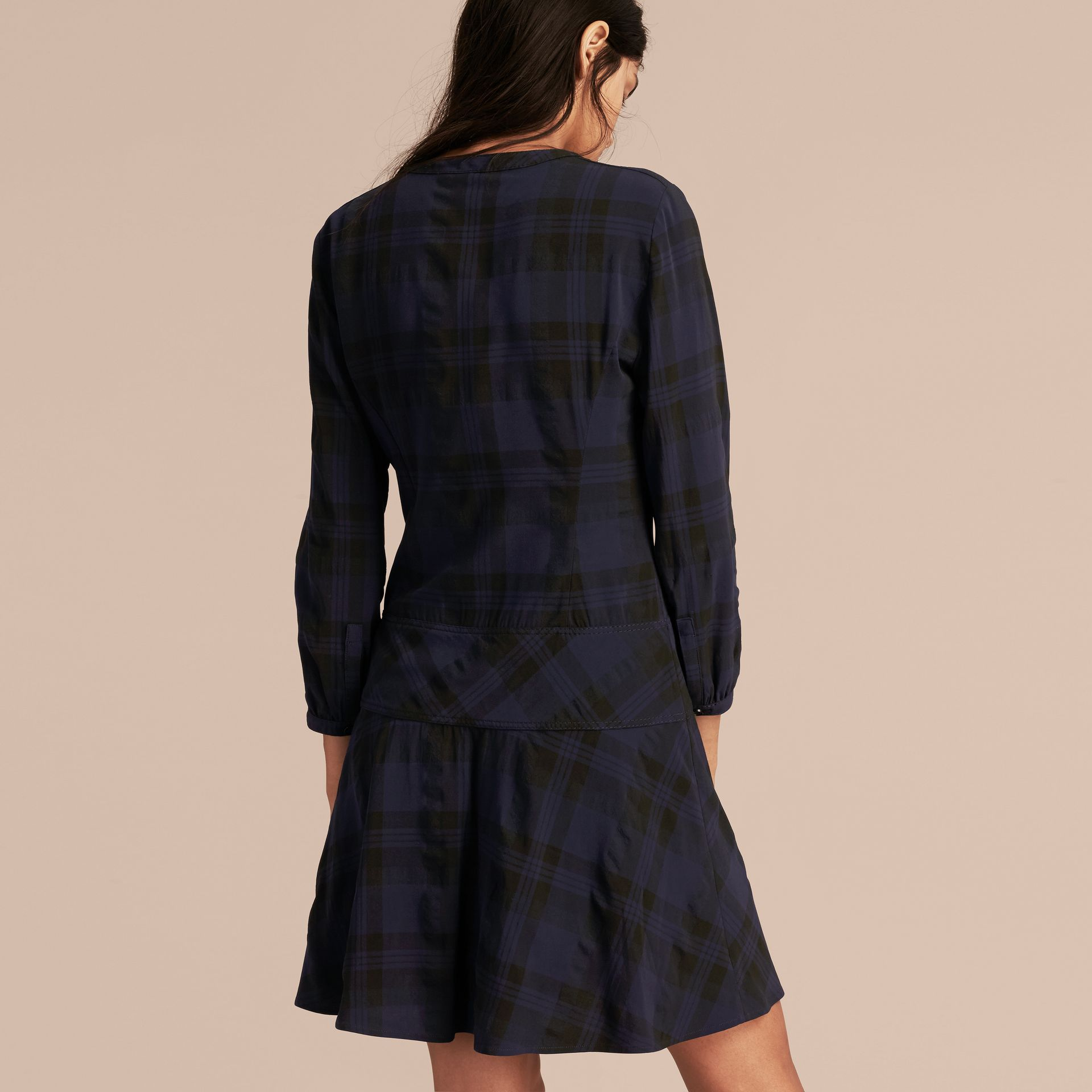 Ink blue Check Technical Cotton A-line Dress - gallery image 3