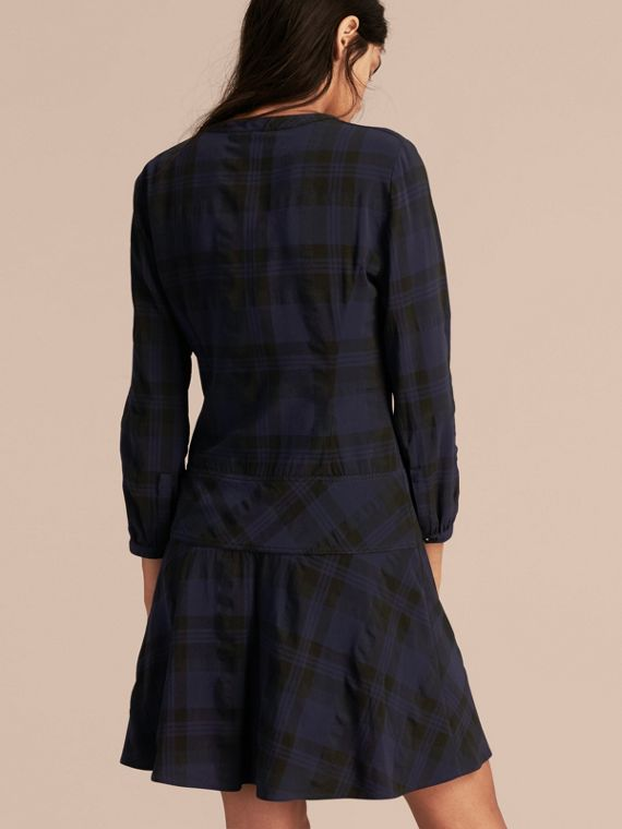 Ink blue Check Technical Cotton A-line Dress - cell image 2