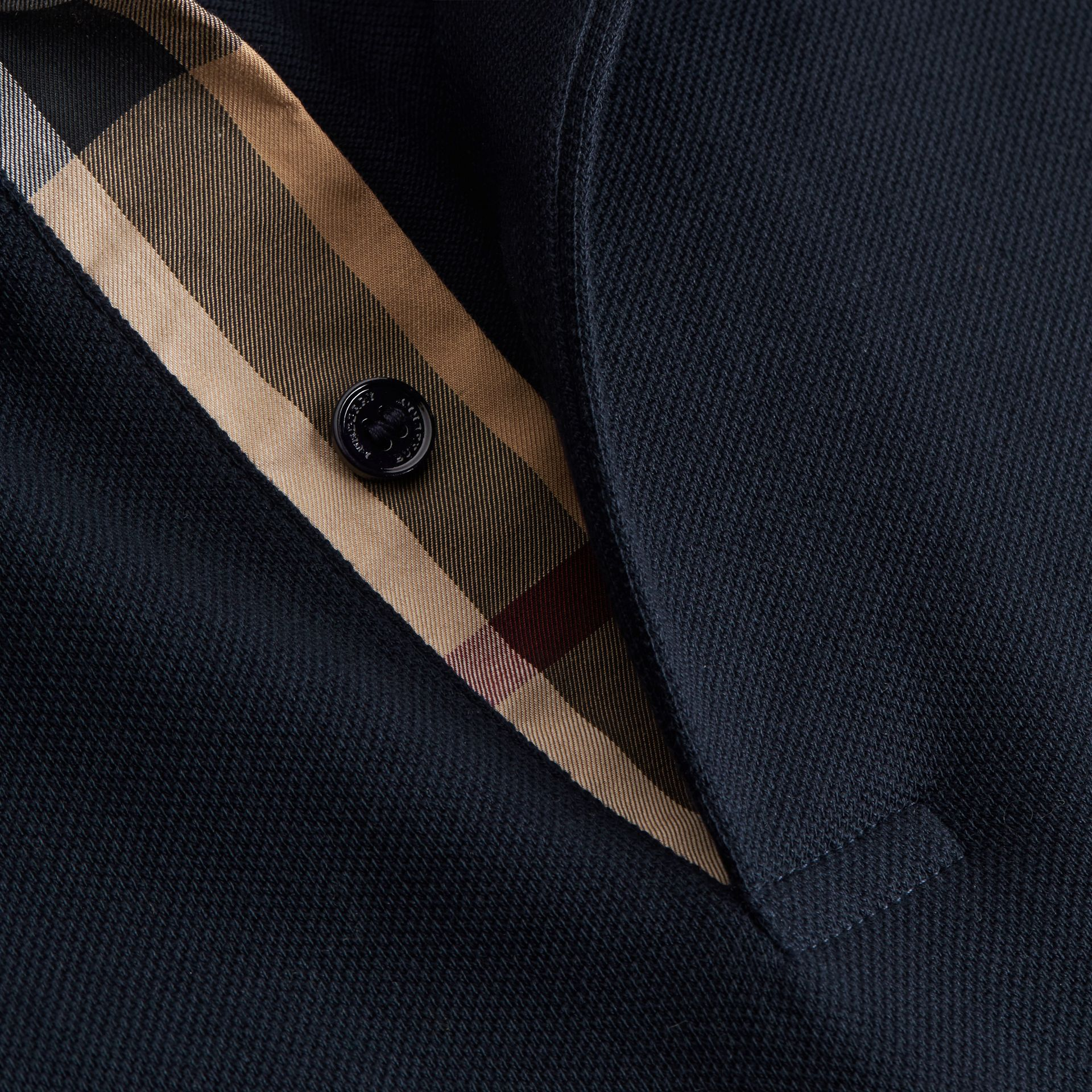 Geometric Motif Cotton Piqué Polo Shirt with Check Placket in Dark Navy - gallery image 2