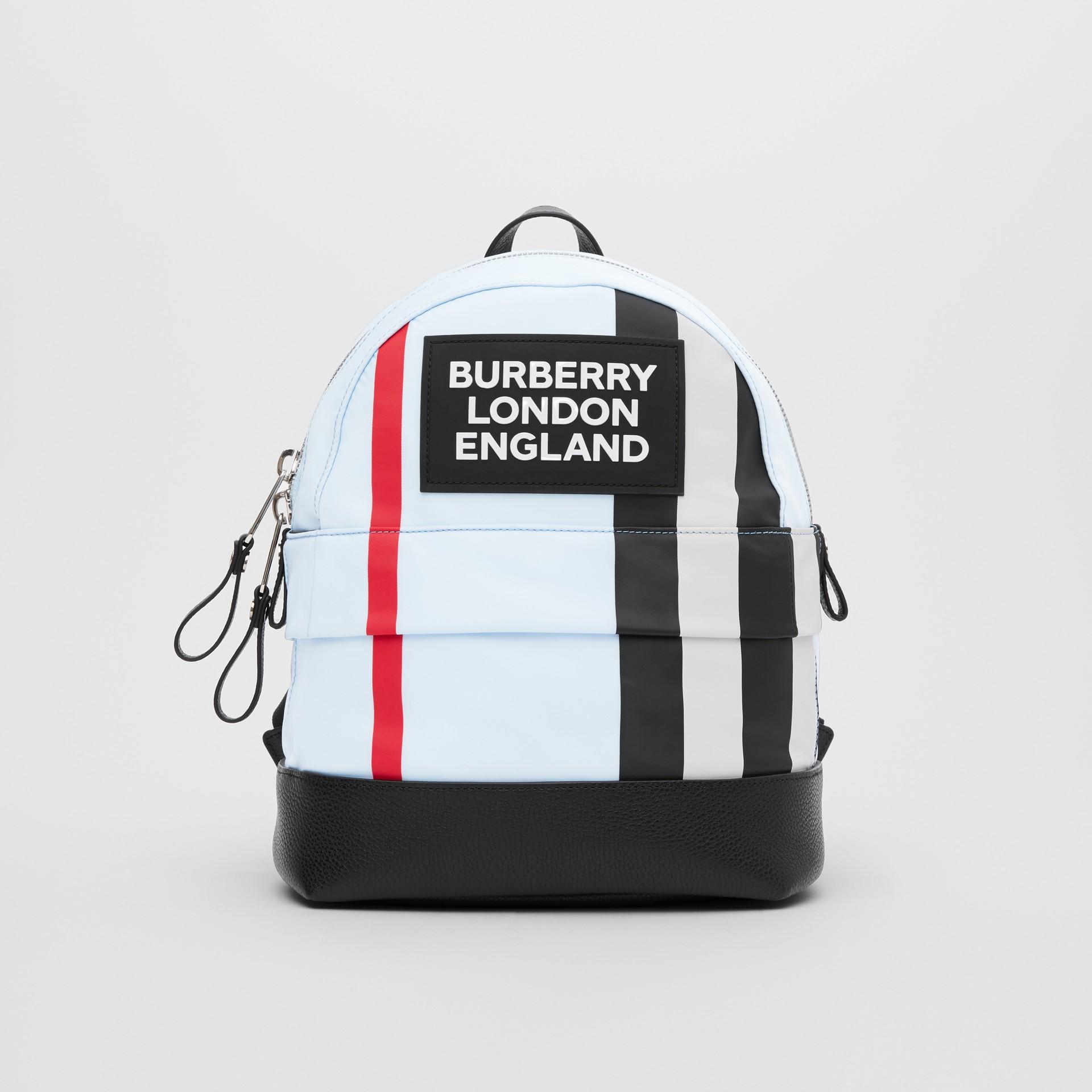 Logo Appliqué Icon Stripe ECONYL® Backpack in Pale Blue - Children | Burberry United Kingdom - gallery image 0