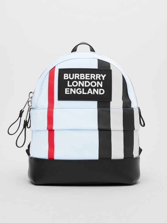 Logo Appliqué Icon Stripe ECONYL® Backpack in Pale Blue