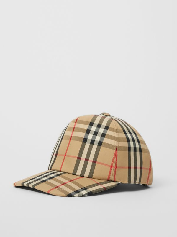 Logo Detail Vintage Check Baseball Cap in Archive Beige | Burberry - cell image 3
