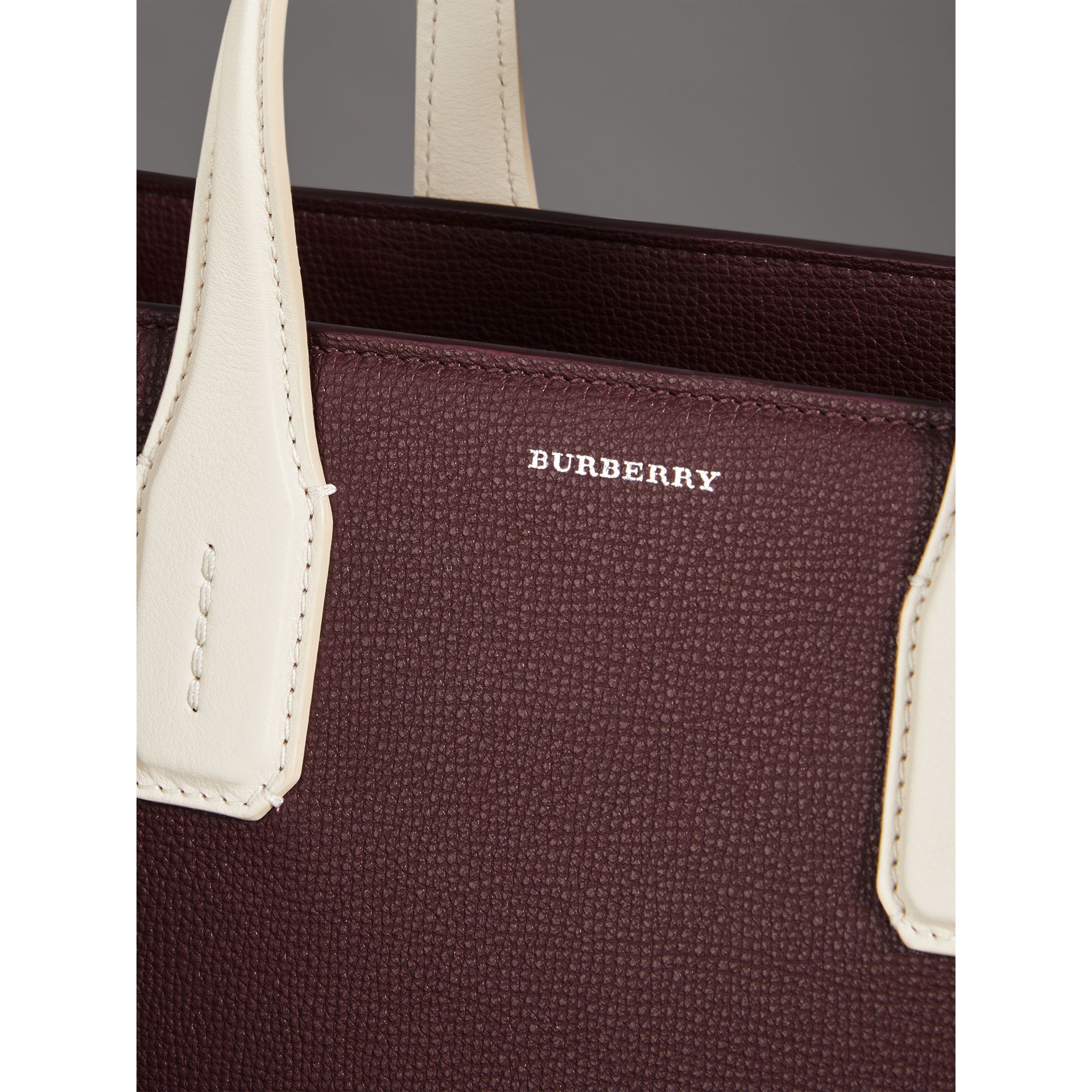 The Medium Banner in Two-tone Leather in Mahogany Red/limestone - Women | Burberry United States - gallery image 1