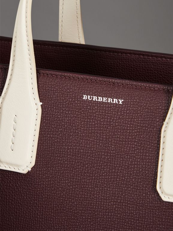 The Medium Banner in Two-tone Leather in Mahogany Red/limestone - Women | Burberry United Kingdom - cell image 1