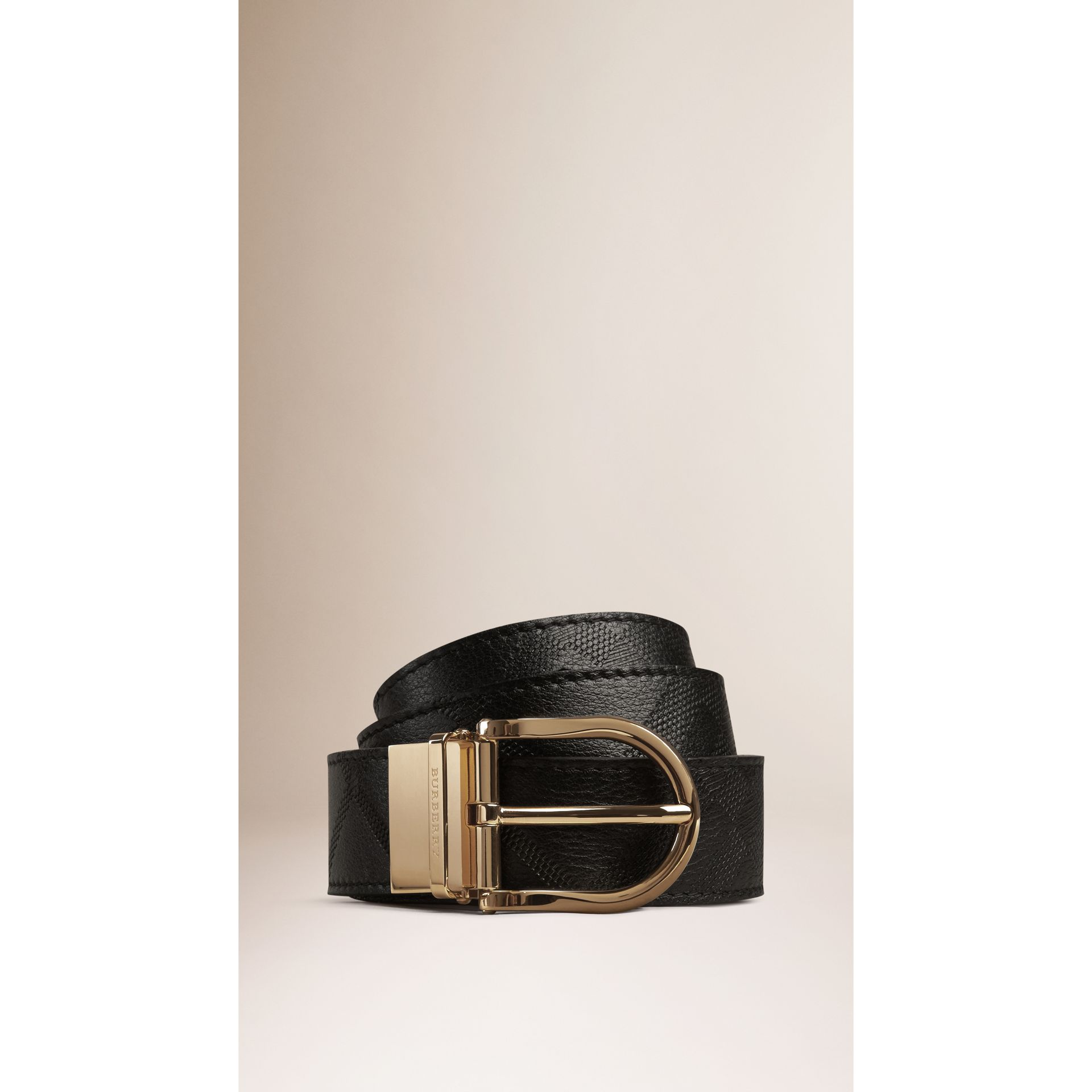 Reversible Check Embossed Leather Belt in Black - gallery image 1