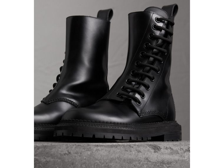 Leather Asymmetric Lace-up Boots in Black - Women | Burberry - cell image 4