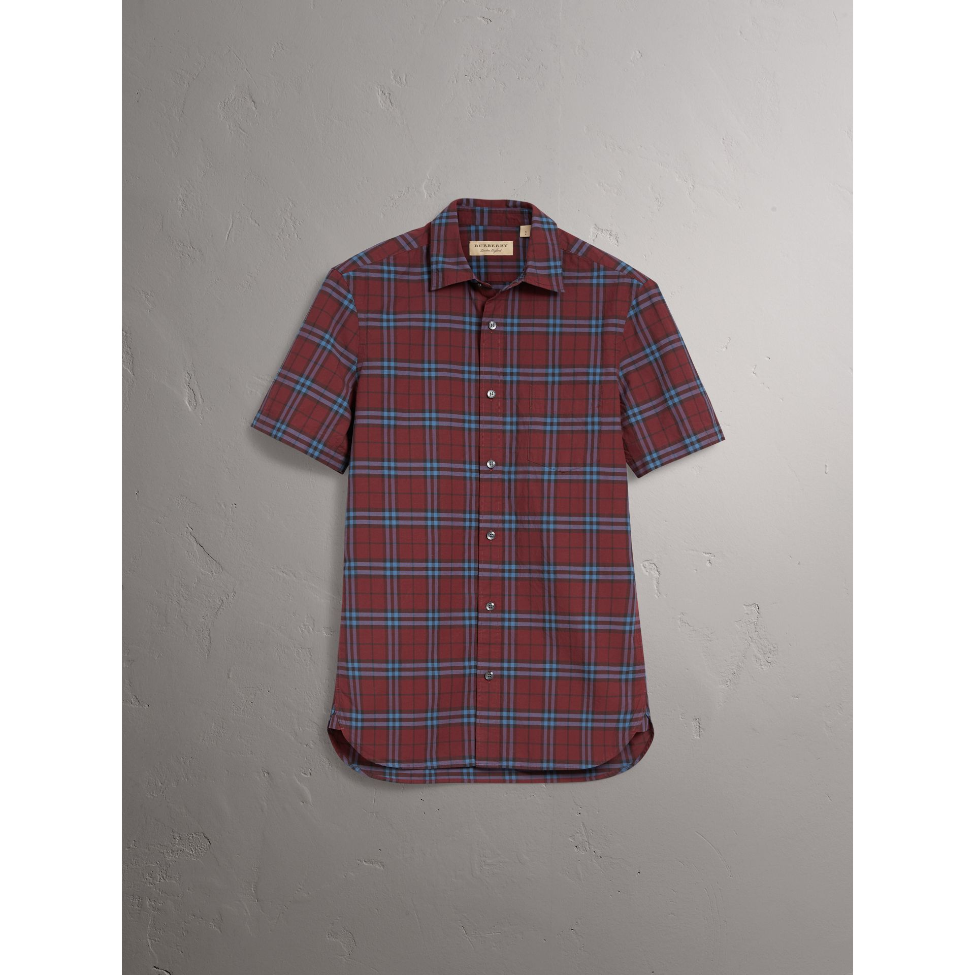 Short-sleeve Check Cotton Shirt in Crimson Red - Men | Burberry - gallery image 3