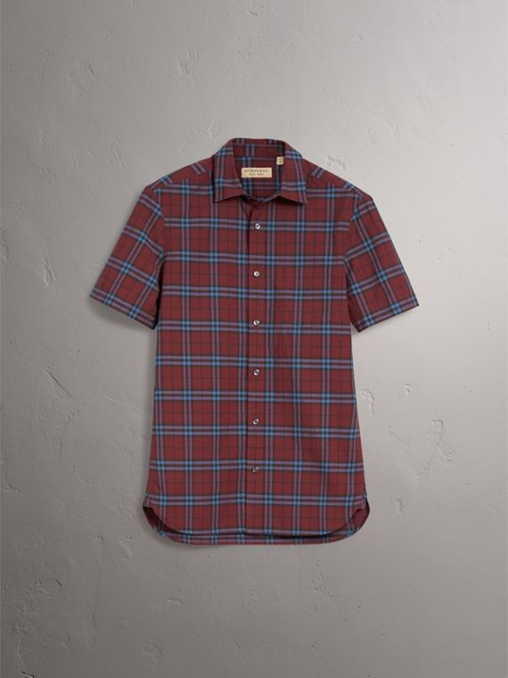 Short-sleeve Check Cotton Shirt in Crimson Red - Men | Burberry Singapore - cell image 3