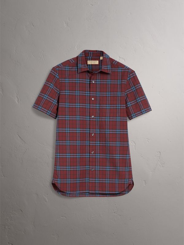 Short-sleeve Check Cotton Shirt in Crimson Red - Men | Burberry United Kingdom - cell image 3