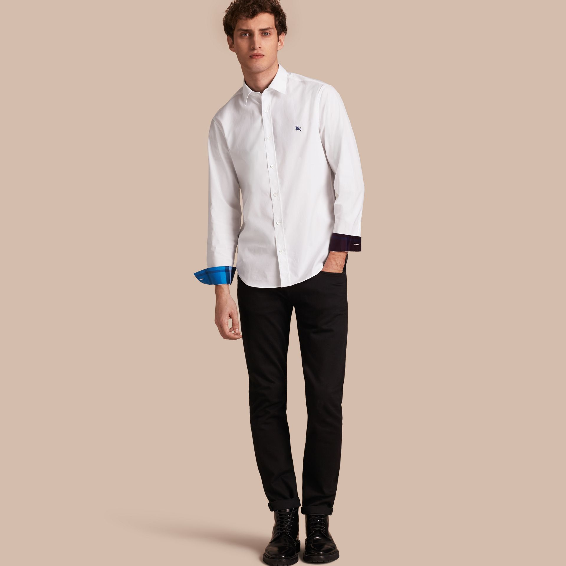 Check Detail Stretch Cotton Shirt White - gallery image 1