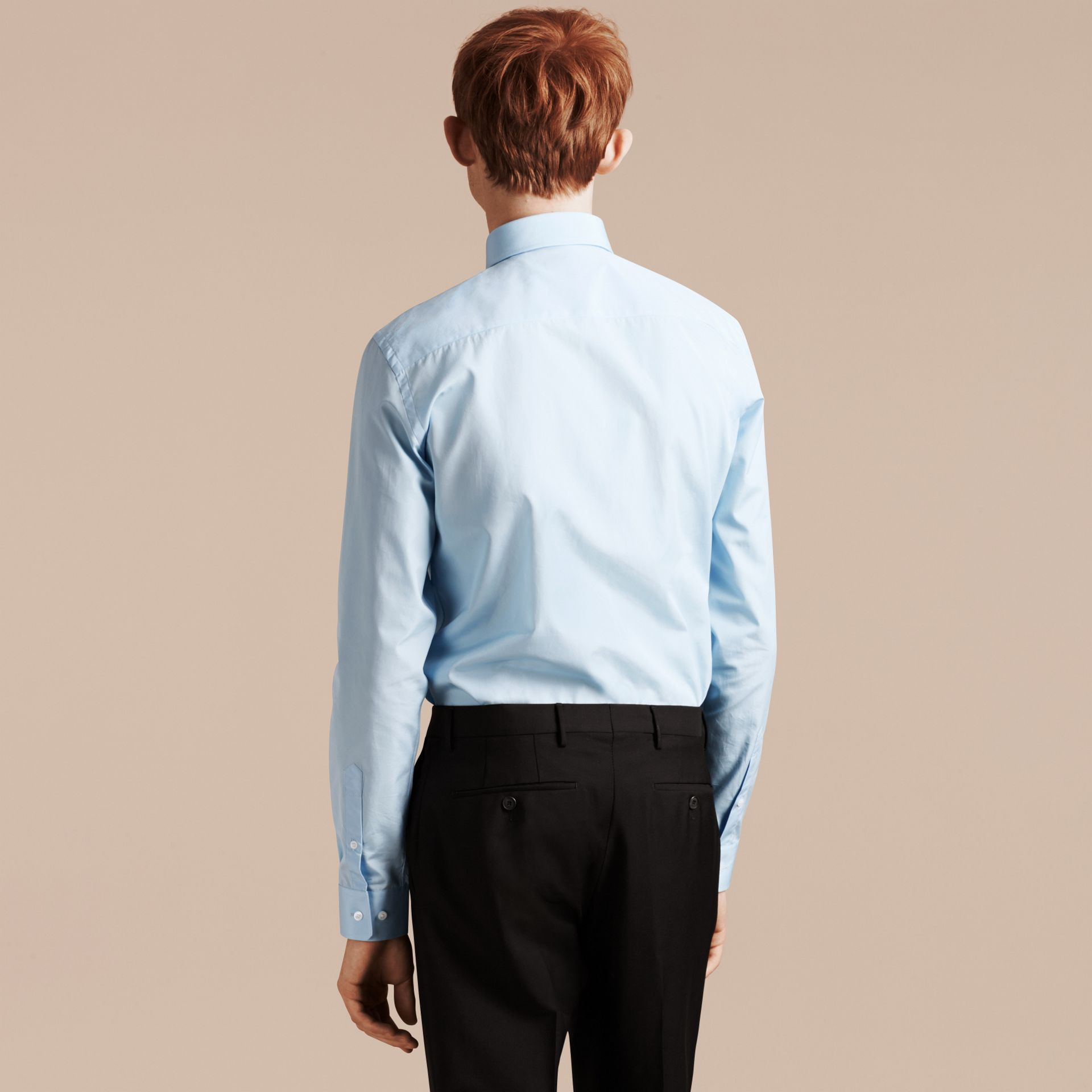 City blue Slim Fit Cotton Poplin Shirt City Blue - gallery image 3