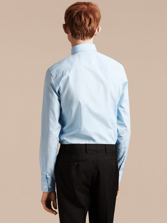 Slim Fit Cotton Poplin Shirt in City Blue - cell image 2