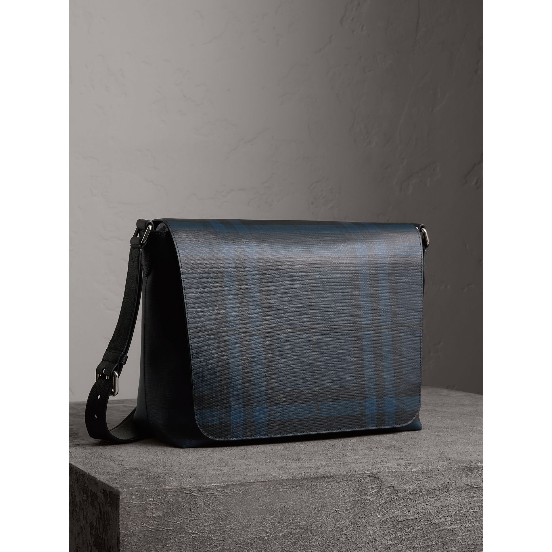 Large London Check Messenger Bag in Navy/black | Burberry Hong Kong - gallery image 6
