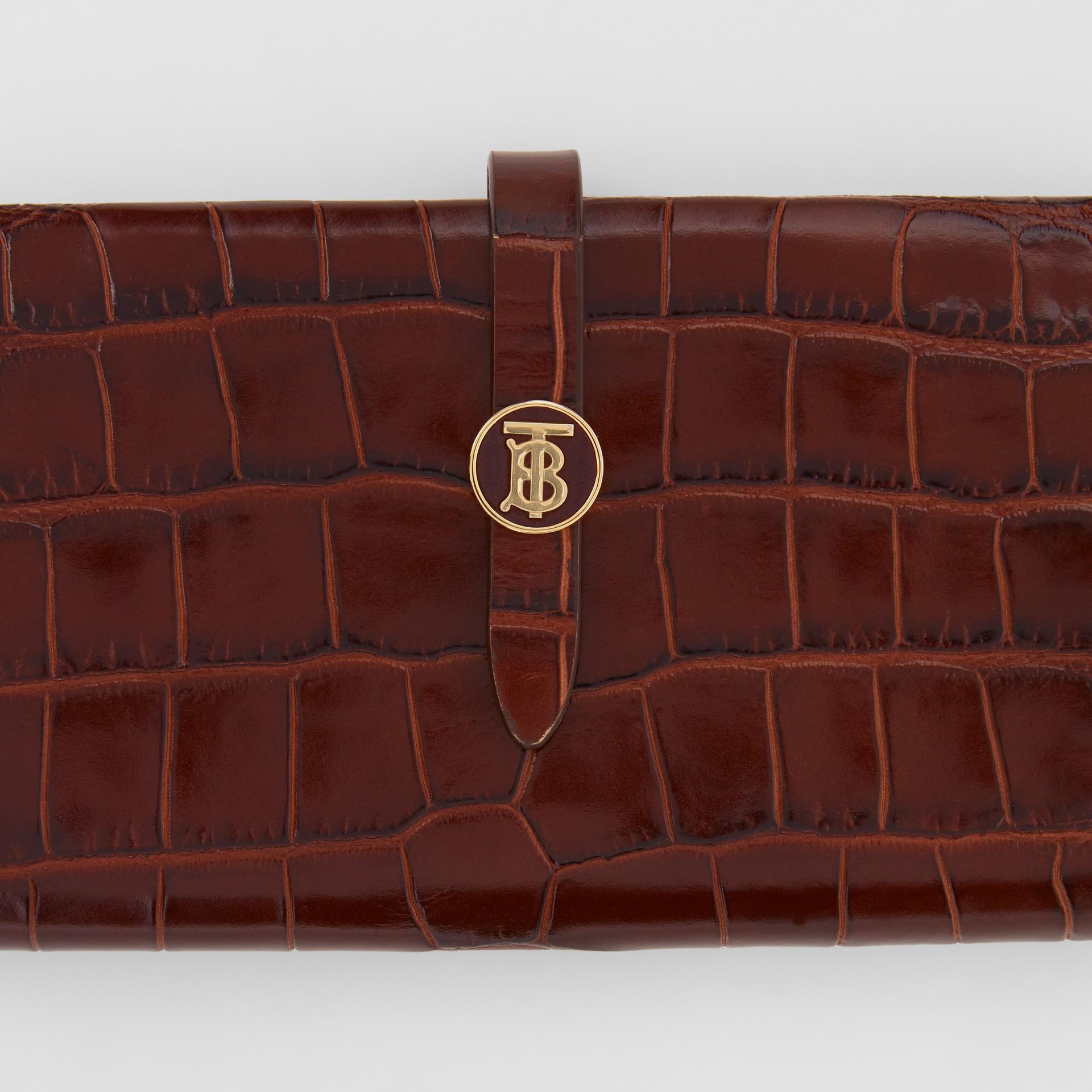Monogram Motif Embossed Leather Folding Wallet in Tan - Women | Burberry - gallery image 7