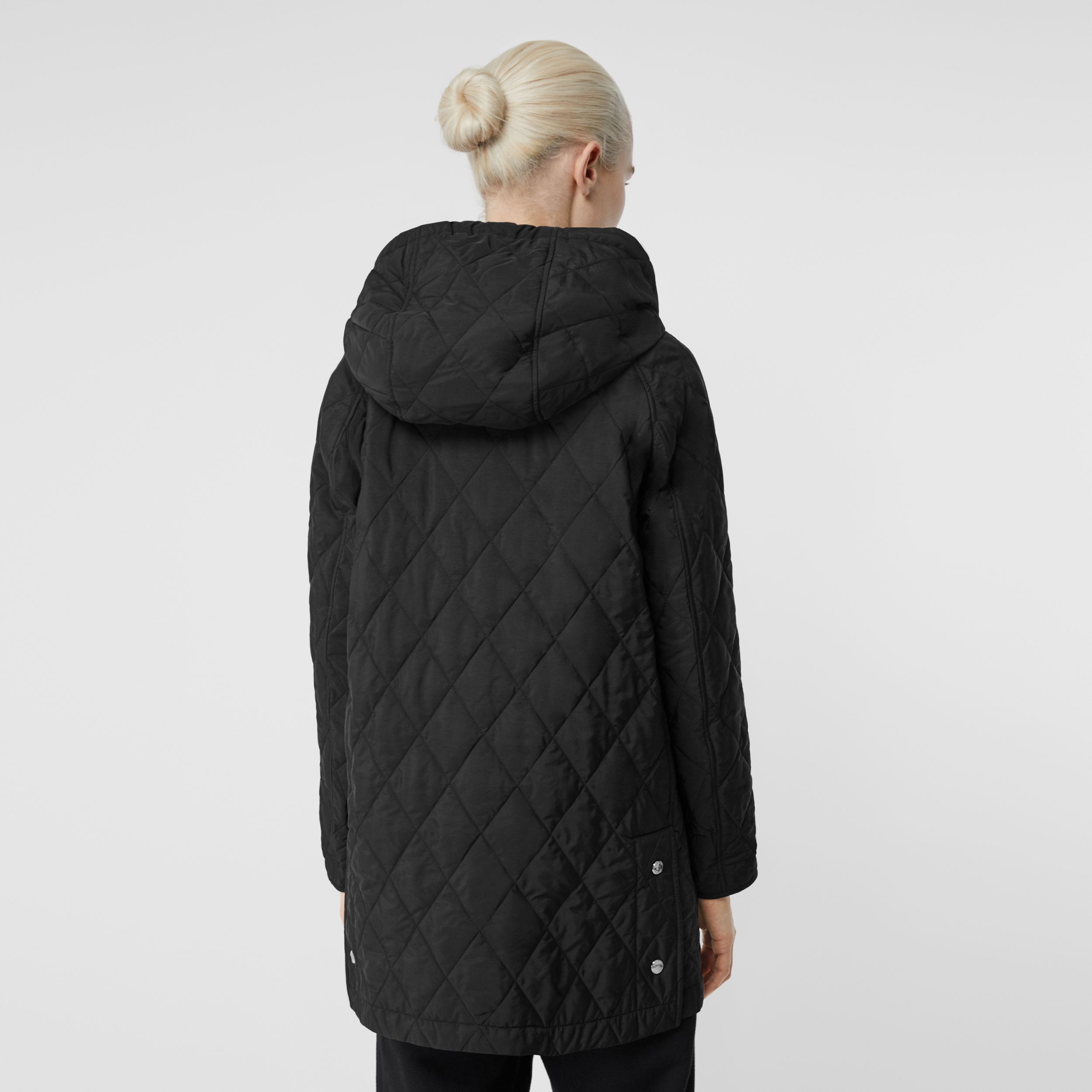 Diamond Quilted Thermoregulated Hooded Coat in Black - Women | Burberry - 3