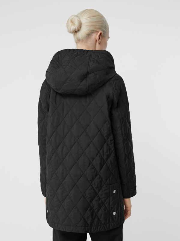 Diamond Quilted Thermoregulated Hooded Coat in Black - Women | Burberry Singapore - cell image 2