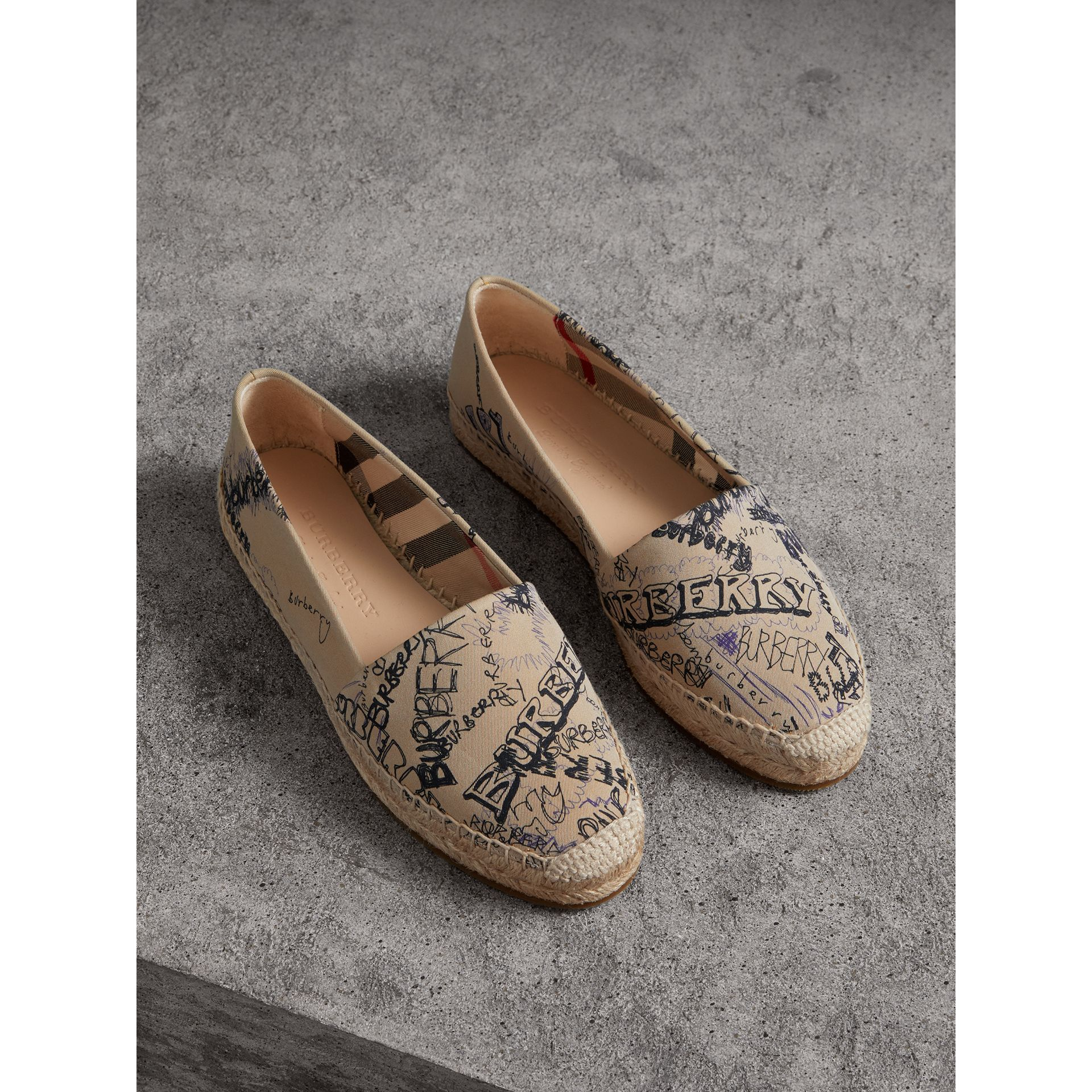 Doodle Print Cotton Gabardine Espadrilles in Honey - Women | Burberry - gallery image 0