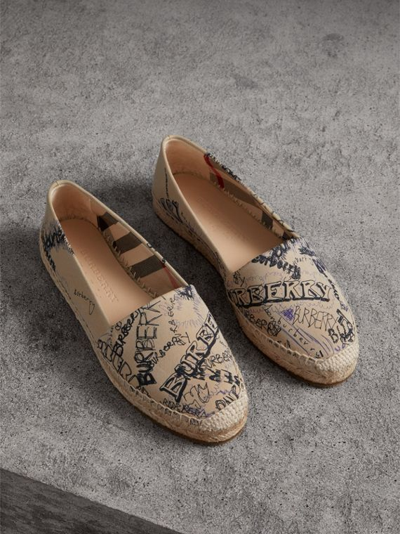 Doodle Print Cotton Gabardine Espadrilles in Honey