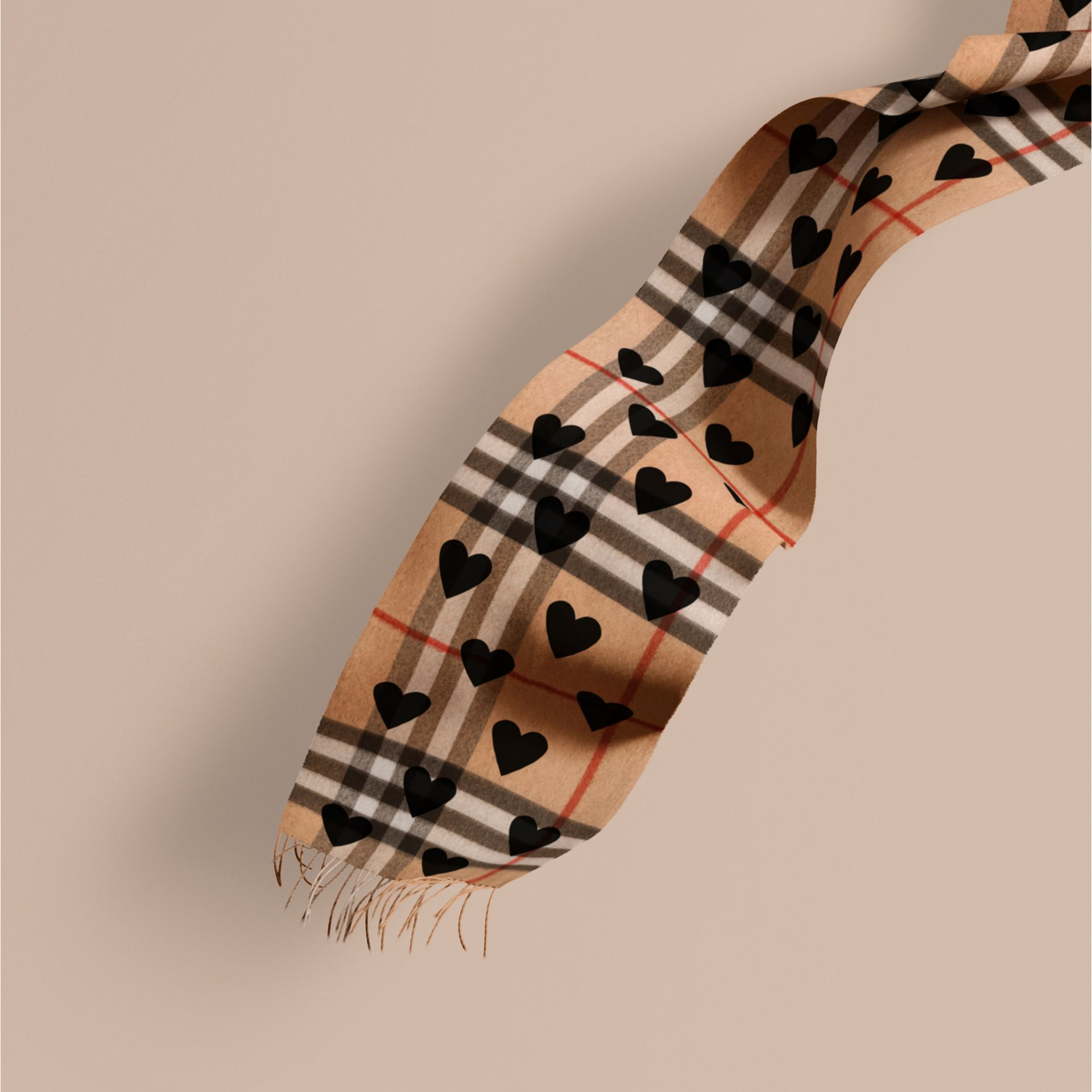 The Classic Cashmere Scarf in Check and Hearts in Black - gallery image 1