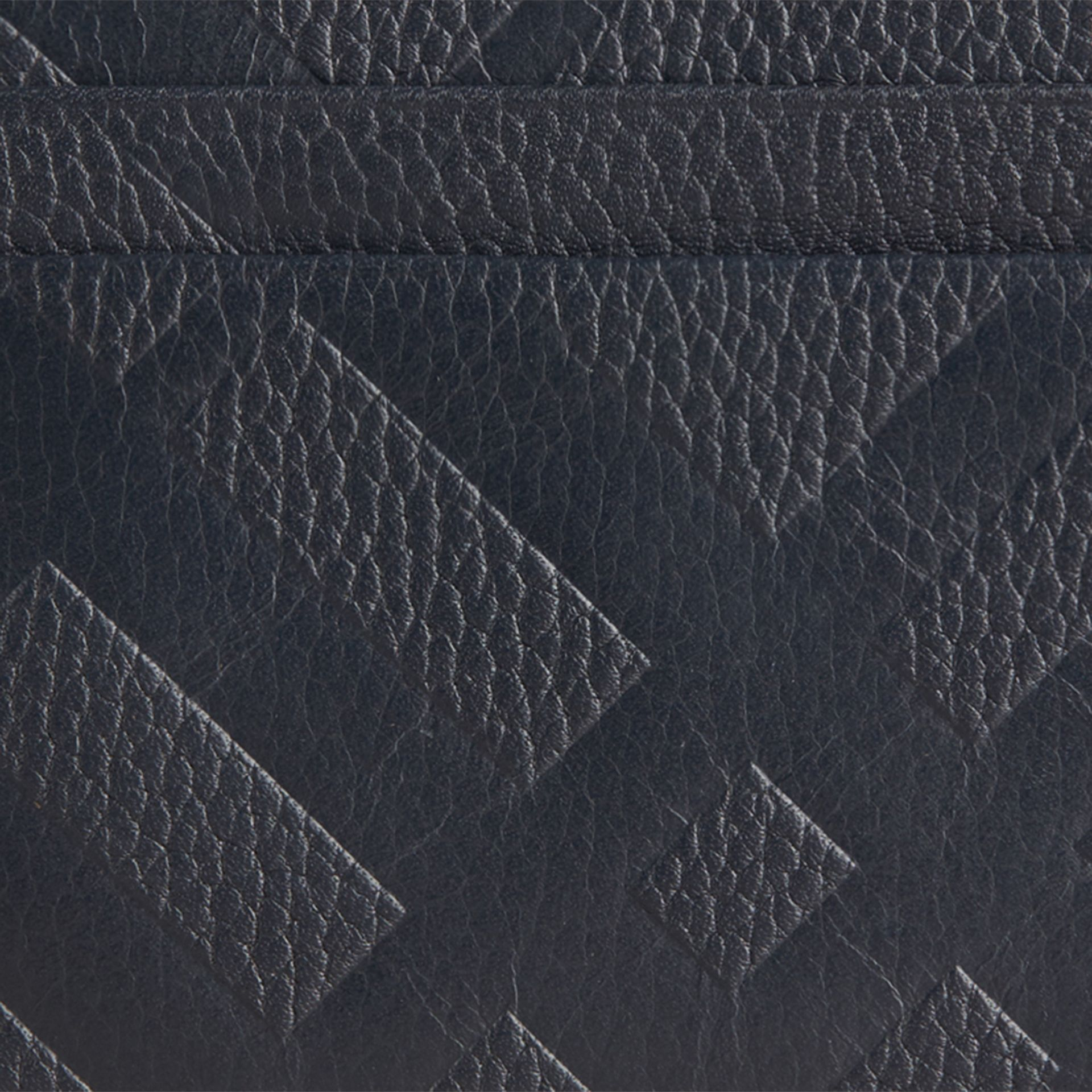 Dark pewter blue Embossed Check Leather Card Case Dark Pewter Blue - gallery image 2