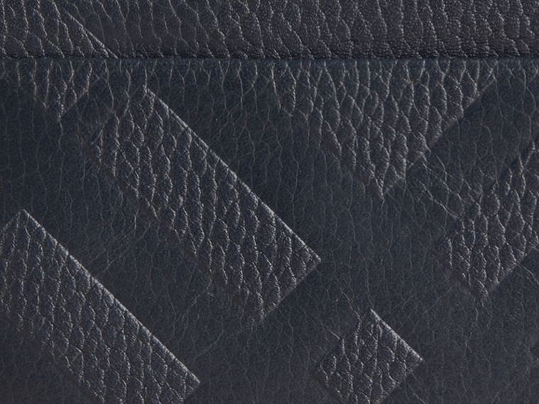 Dark pewter blue Embossed Check Leather Card Case Dark Pewter Blue - cell image 1