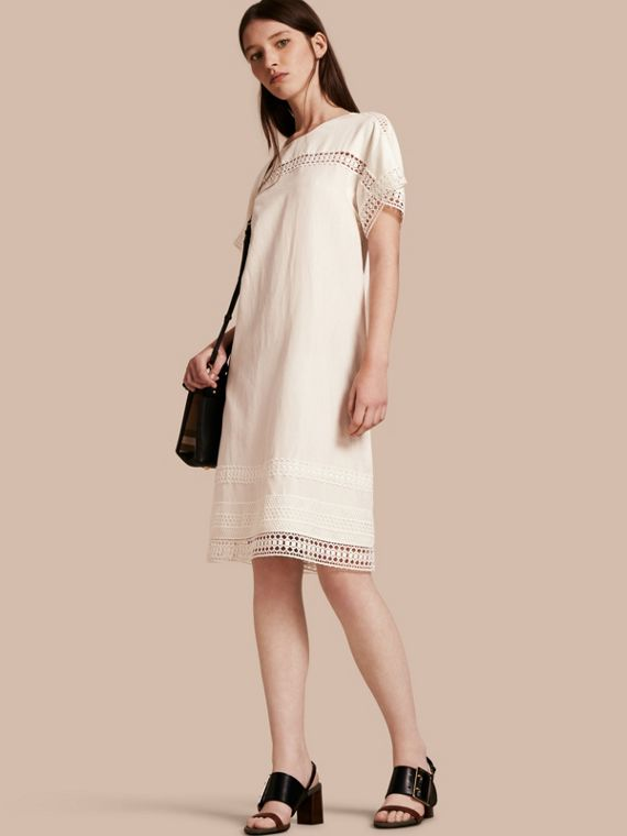 Macramé Lace Detail Silk Linen Cotton Dress