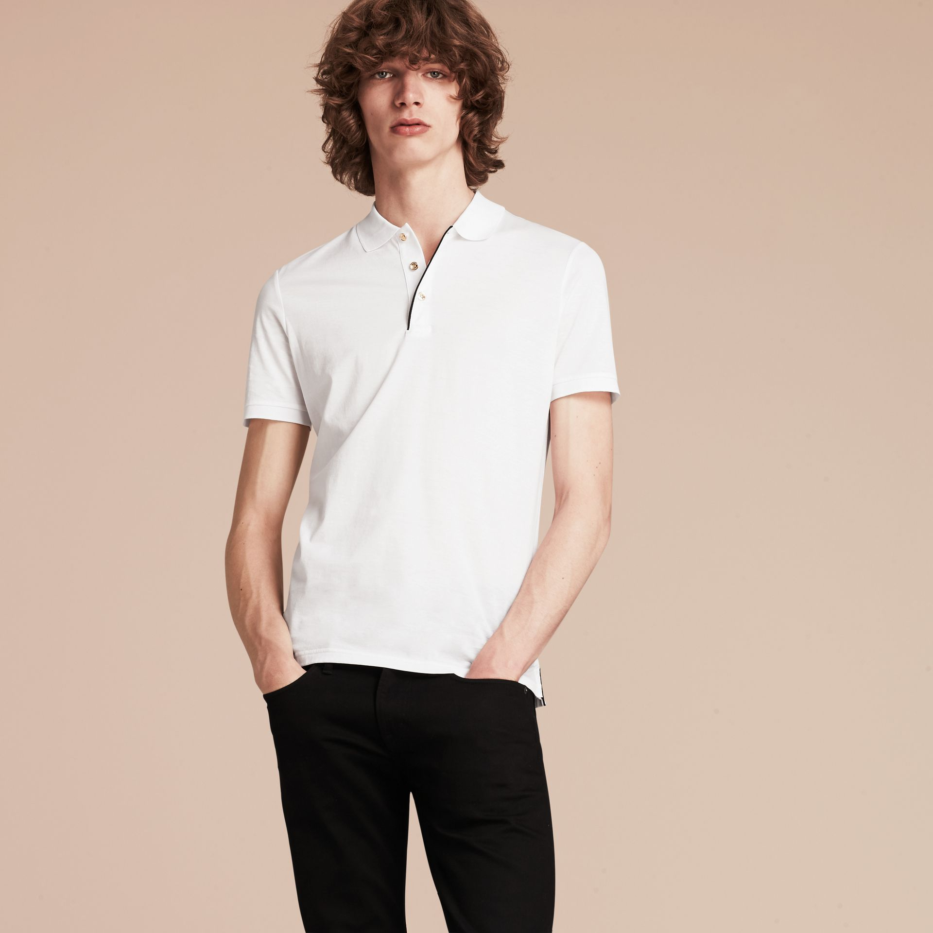 White Regimental Cotton Polo Shirt White - gallery image 6