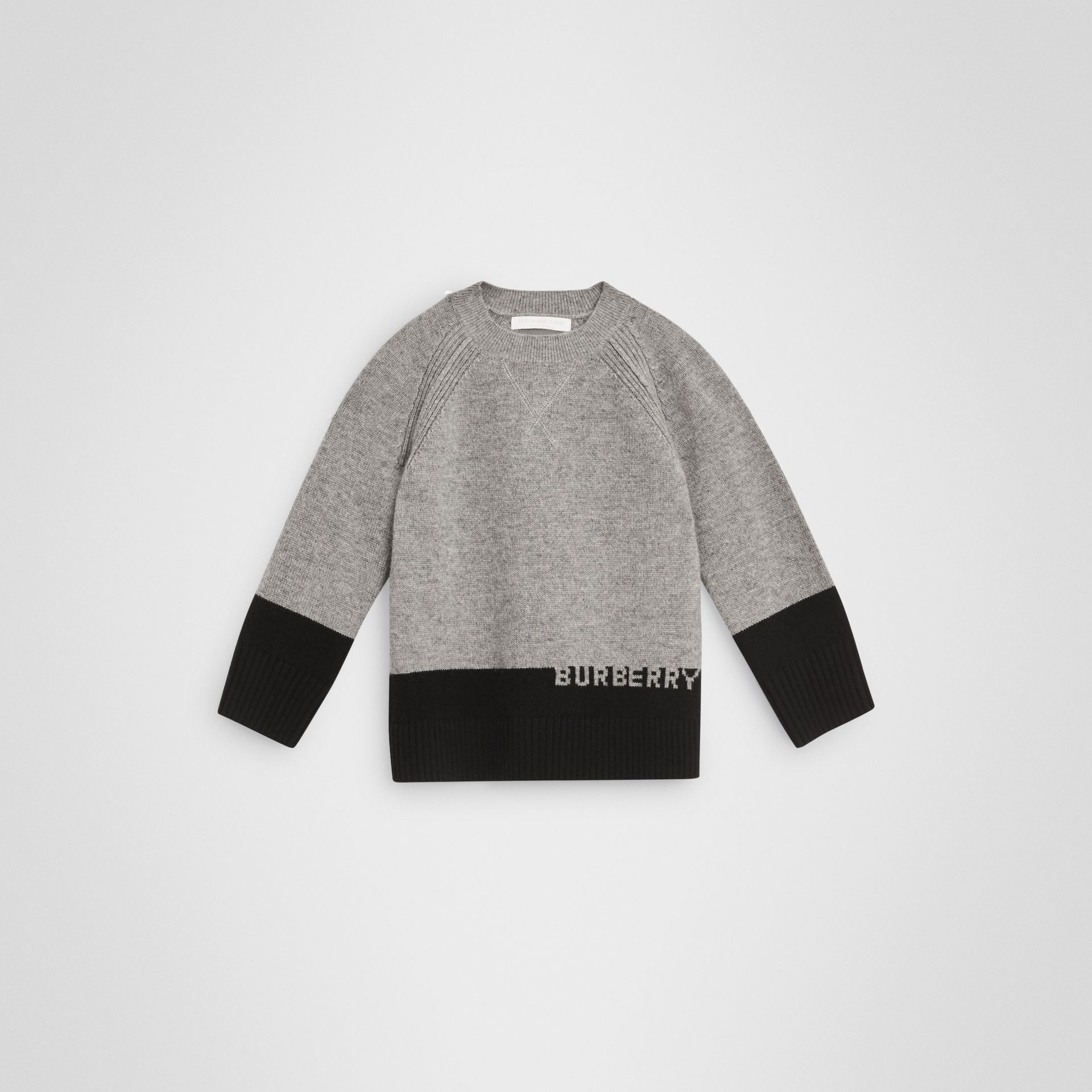 Logo Intarsia Cashmere Sweater in Grey Melange | Burberry United States - gallery image 0