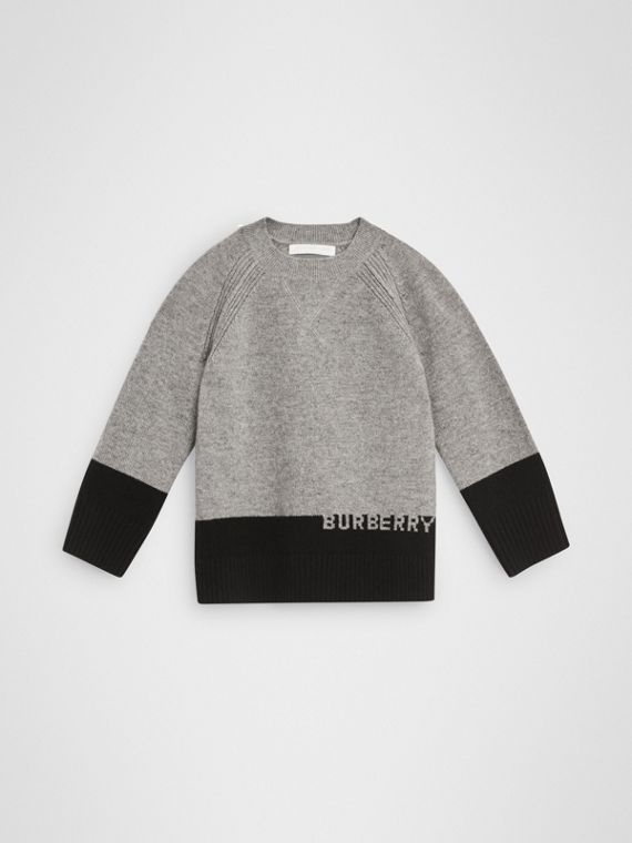 Logo Intarsia Cashmere Sweater in Grey Melange